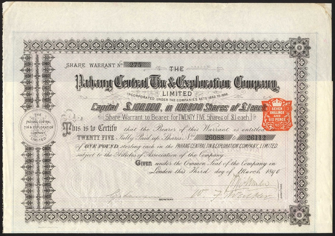 162 - Malaya: Pahang Central Tin & exploration Company Ltd