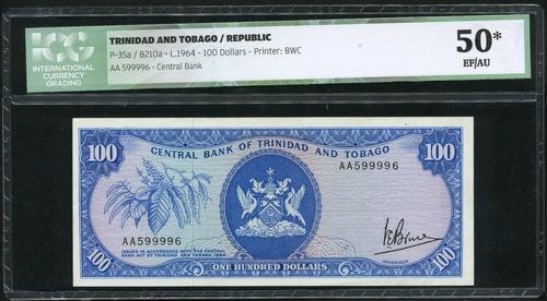 2823 - Central Bank of Trinidad and Tobago, $100, 6th June 1977