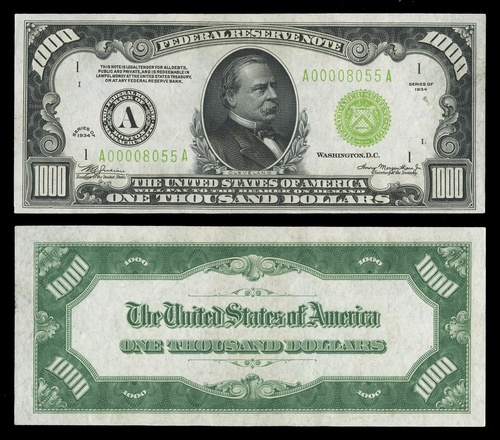 2007 - Fr 2211-A  $1000  Federal Reserve Note  1934  Grover